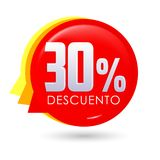 30% Descuento, 30% discount spanish text, bubble sale tag, Offer price label. 30% Descuento, 30% discount spanish text, bubble sale tag vector illustration Stock Images