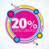 20% Descuento, 50% Discount Sticker spanish text, sale tag. Vector Illustration, Offer price label - eps available Stock Photo