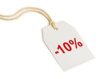 Descuento el 10% de la escritura de la etiqueta Imágenes de archivo libres de regalías