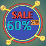 Descuento en compras Compras en línea del descuento del 60% Imágenes de archivo libres de regalías