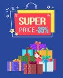 Descuento estupendo -35 de la oferta especial del precio de la etiqueta Foto de archivo libre de regalías