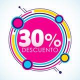 30% Descuento, spanischer Text des 30% Rabatt-Aufklebers, Verkaufstag Stockfotos