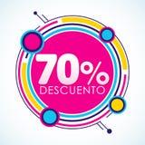 70% Descuento, spanischer Text des 70% Rabatt-Aufklebers, Verkaufstag-Vektor Illustration Stockfotos