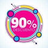 90% Descuento, testo dello Spagnolo dell'autoadesivo di sconto di 90% Immagini Stock Libere da Diritti