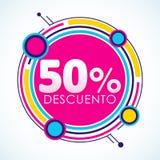 50% Descuento, testo spagnolo dell'autoadesivo di sconto di 50%, illustrazione di vettore dell'etichetta di vendita Immagini Stock
