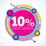 10% Descuento, testo spagnolo dell'autoadesivo di sconto di 10%, illustrazione di vettore dell'etichetta di vendita Fotografia Stock Libera da Diritti