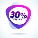 30% Descuento, testo spagnolo di sconto di 30%, etichetta moderna di vendita Fotografia Stock Libera da Diritti