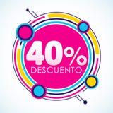 40% Descuento, texte espagnol d'autocollant de remise de 50%, étiquette de vente Image stock
