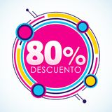 80% Descuento, texte espagnol d'autocollant de remise de 80%, étiquette de vente illustration stock