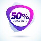 50% Descuento, texte espagnol de remise de 50%, étiquette moderne de vente Images stock