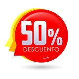50% Descuento, texte espagnol de remise de 50%, étiquette de vente de bulle Image stock