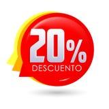 20% Descuento, texte espagnol de remise de 20%, étiquette de vente de bulle Photo libre de droits