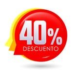 50% Descuento, texte espagnol de remise de 50%, illustration de vecteur d'étiquette de vente de bulle Photo libre de droits