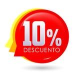 10% Descuento, texte espagnol de remise de 10%, illustration de vecteur d'étiquette de vente de bulle illustration libre de droits