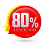 80% Descuento, texte espagnol de remise de 80%, illustration de vecteur d'étiquette de vente de bulle, étiquette d'offre illustration de vecteur
