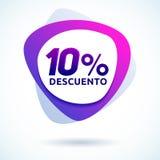 10% Descuento, texto espanhol do disconto de 10%, ilustração moderna do vetor da etiqueta da venda Imagem de Stock