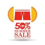 Descuentos de la venta 50 del verano con ropa Foto de archivo