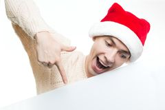 Descuentos del Año Nuevo vendedor, de la Navidad y cartel Hombre sorprendido Fotografía de archivo