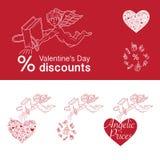 Descuentos del día de tarjeta del día de San Valentín ilustración del vector
