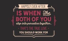 Desde entonces son feliz cuando los ambos usted caminan en paraíso juntos, los that's el amor verdadero que usted debe trabajar stock de ilustración
