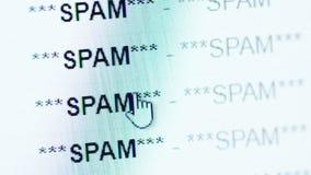 Desdobramento em um inbox do email completamente de messeges do Spam video estoque