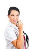 Deseando a la mujer con los dedos cruzados imagen de archivo libre de regalías