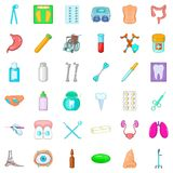 Desease icons set, cartoon style Stock Photo
