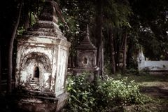 Desecrated buddhist tomb royalty free stock photo