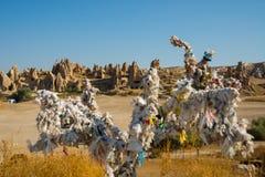 Desee el árbol en las secuencias blancas Iglesias de la roca y desvanes de paloma Valle de la espada, Goreme, Cappadocia, Anatoli imágenes de archivo libres de regalías