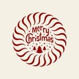 Desejando lhe o Feliz Natal Árvore de Natal com flocos de neve Elemento redondo do Natal para o cartão, convite, folheto, fl Foto de Stock