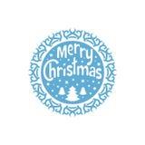 Desejando lhe o Feliz Natal Árvore de Natal com flocos de neve Elemento redondo do Natal para o cartão, convite, folheto, fl Imagem de Stock