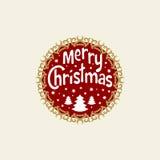 Desejando lhe o Feliz Natal Árvore de Natal com flocos de neve Elemento redondo do Natal para o cartão, convite, folheto, fl Fotografia de Stock Royalty Free