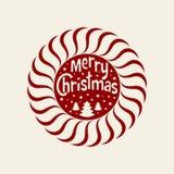 Desejando lhe o Feliz Natal Árvore de Natal com flocos de neve Elemento redondo do Natal para o cartão, convite, folheto, fl Imagem de Stock Royalty Free