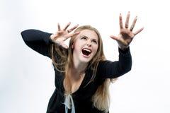 Desejando louro caucasiano de grito para a frente Imagem de Stock Royalty Free