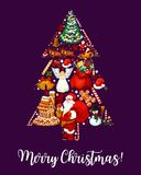 Desejo da árvore do Feliz Natal ano novo feliz 2007 ilustração do vetor