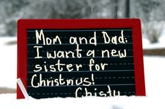 Desejo da irmã do quadro-negro Fotos de Stock Royalty Free