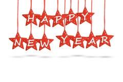 Desejo do ano novo feliz com as estrelas vermelhas isoladas no fundo branco Foto de Stock Royalty Free