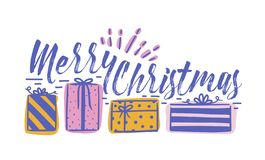 Desejo do feriado do Feliz Natal escrito com fonte caligráfica cursivo e decorado pela fileira das caixas de presente festive ilustração stock
