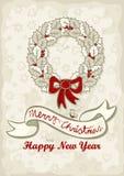 Desejos claros do inglês do Natal da grinalda das folhas do azevinho Imagem de Stock