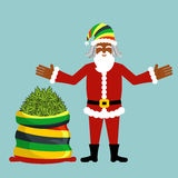 Desejos de Rasta Santa Claus Cânhamo grande do saco de Santa Saco de marijuan Imagens de Stock Royalty Free