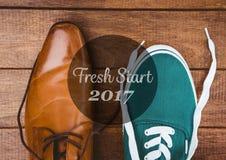 2017 desejos do ano novo com formal e os calçados casuais Fotos de Stock Royalty Free