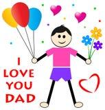 Desejos do dia de pais do filho ilustração royalty free