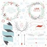 Desejos do Natal e elementos caligráficos do inverno Imagens de Stock