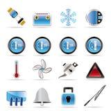 desek rozdzielczych samochodowe ikony Obrazy Stock