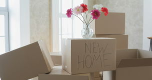 Desembalando caixas em coisas home e pondo novas afastado na cozinha, caixas de cartão grandes na casa nova Mover-se para um novo vídeos de arquivo
