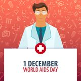 1 Desember. World Aids Day. Medical holiday. Vector medicine illustration. 1 Desember. World Aids Day. Medical holiday. Vector medicine illustration Royalty Free Stock Photography