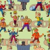 Desempenho alegre de Cheerful do artista engraçado do circo dos desenhos animados ilustração royalty free