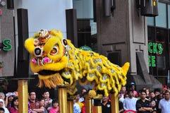 Desempenho da dança do leão Imagem de Stock Royalty Free