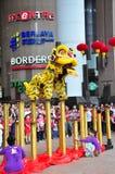 Desempenho da dança do leão Fotografia de Stock