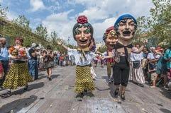Desempenho de Cercavila dentro do major de Vilafranca del Penedes Festa Fotografia de Stock Royalty Free